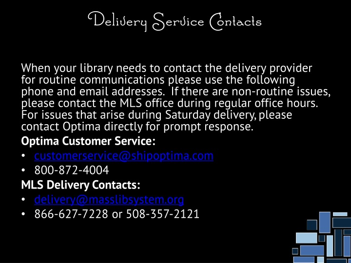 Delivery Service Contacts