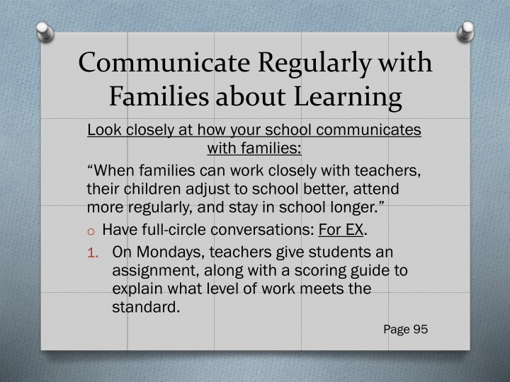 Communicate Regularly with Families about Learning