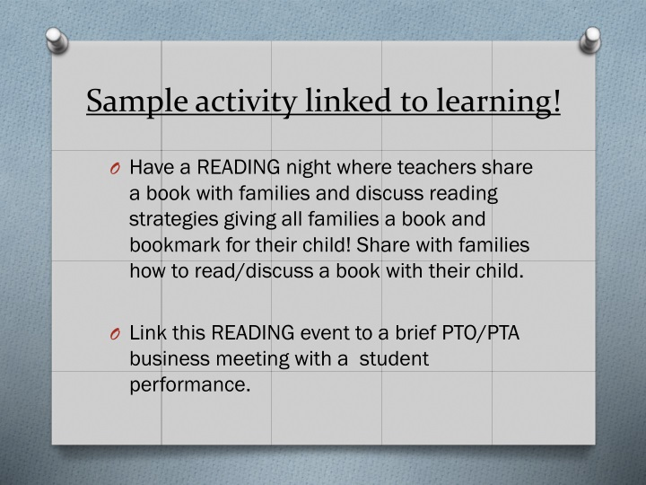 Sample activity linked to learning!