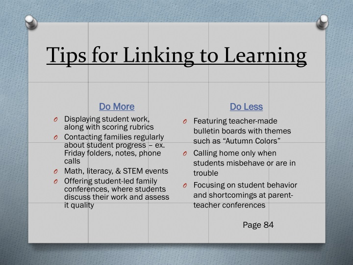 Tips for Linking to Learning