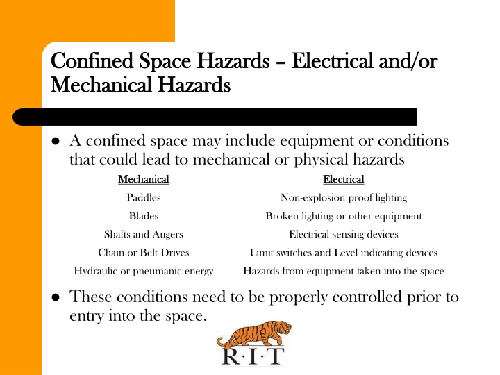 Confined Space Hazards – Electrical and/or Mechanical Hazards