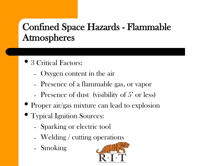 Confined Space Hazards - Flammable Atmospheres