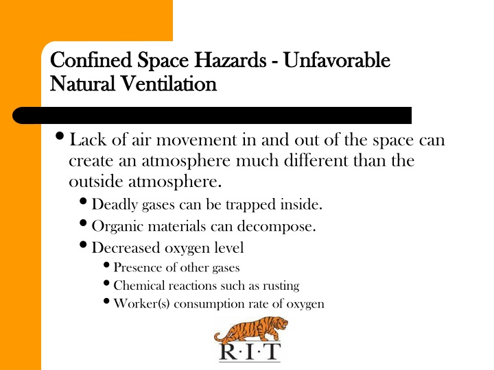 Confined Space Hazards - Unfavorable Natural Ventilation