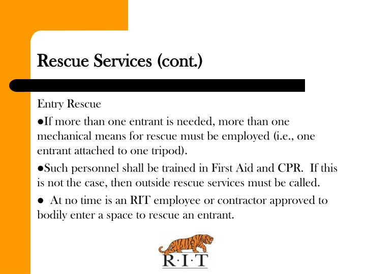 Rescue Services (cont.)