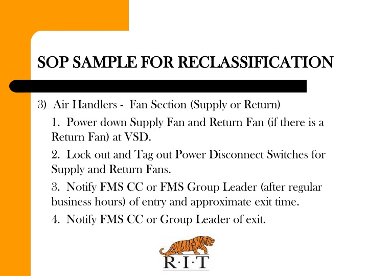 SOP SAMPLE FOR RECLASSIFICATION