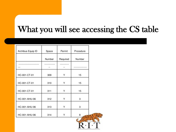 What you will see accessing the CS table