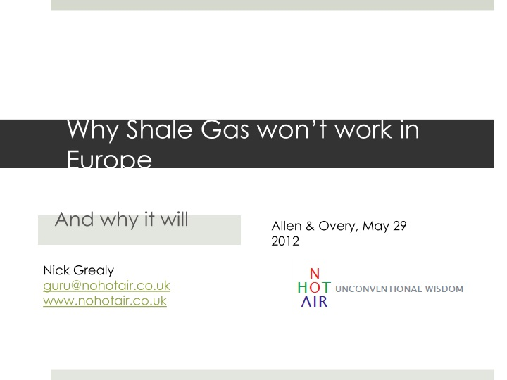 Why Shale Gas won't work in Europe