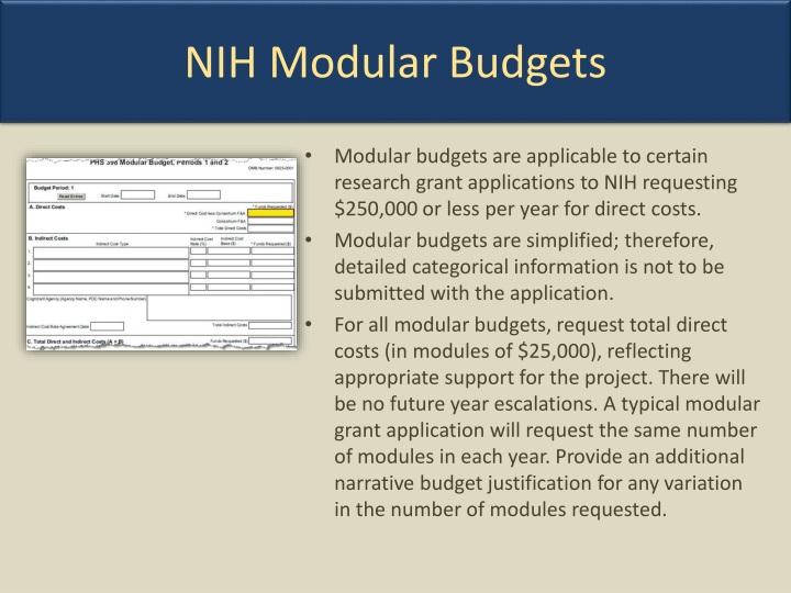 NIH Modular Budgets