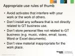 appropriate use rules of thumb