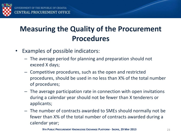 Measuring the Quality of the Procurement Procedures
