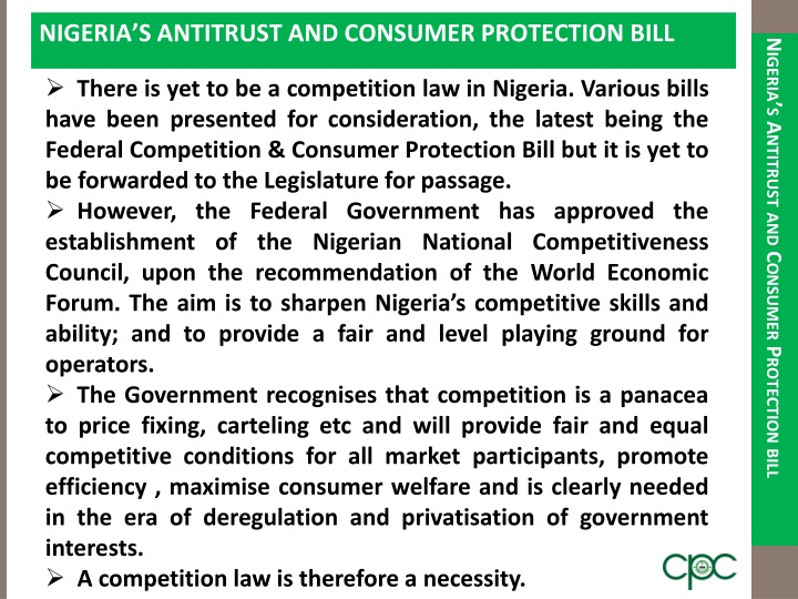 NIGERIA'S ANTITRUST AND CONSUMER PROTECTION BILL
