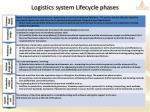 logistics system lifecycle phases