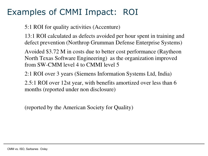 Examples of CMMI Impact:  ROI