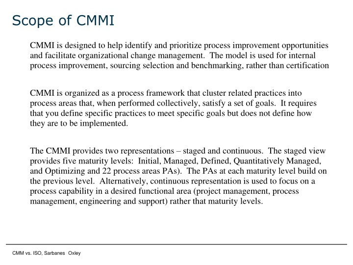 Scope of CMMI