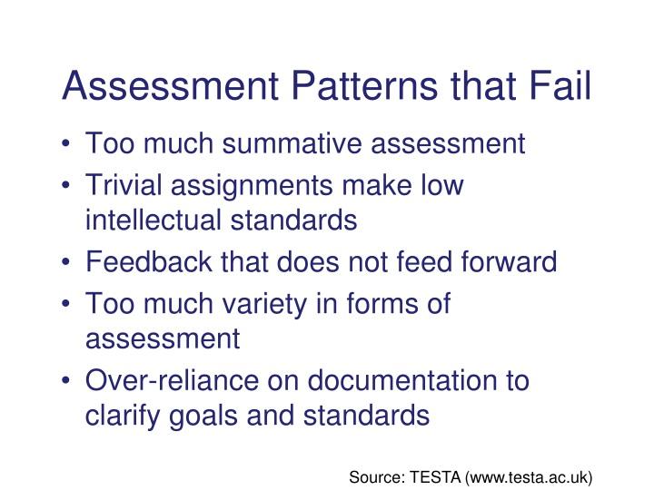 Assessment Patterns that Fail