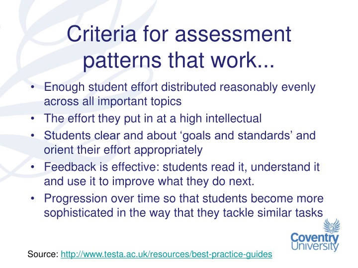 Criteria for assessment patterns that work...