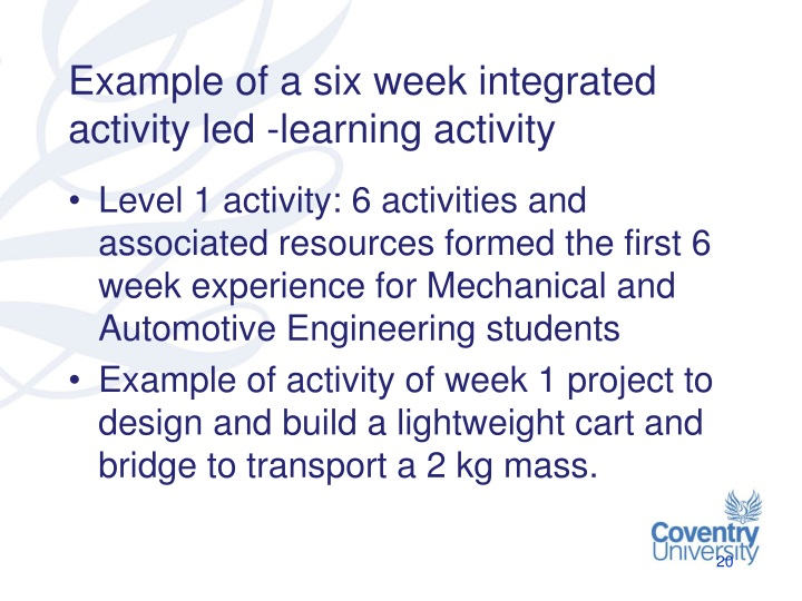 Example of a six week integrated activity led -learning activity