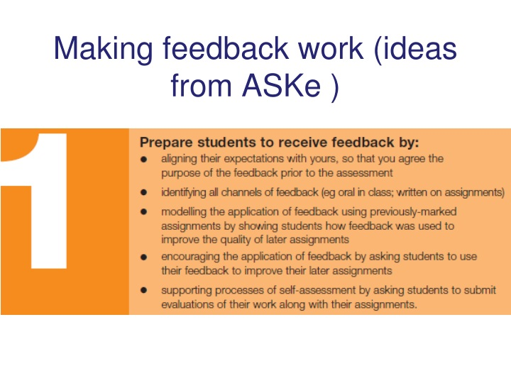 Making feedback work (ideas from