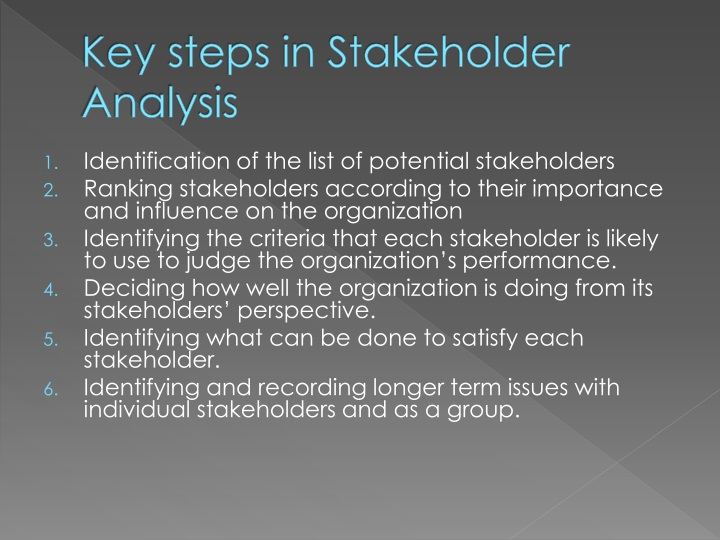 Key steps in Stakeholder Analysis