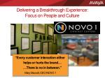 delivering a breakthrough experience focus on people and culture