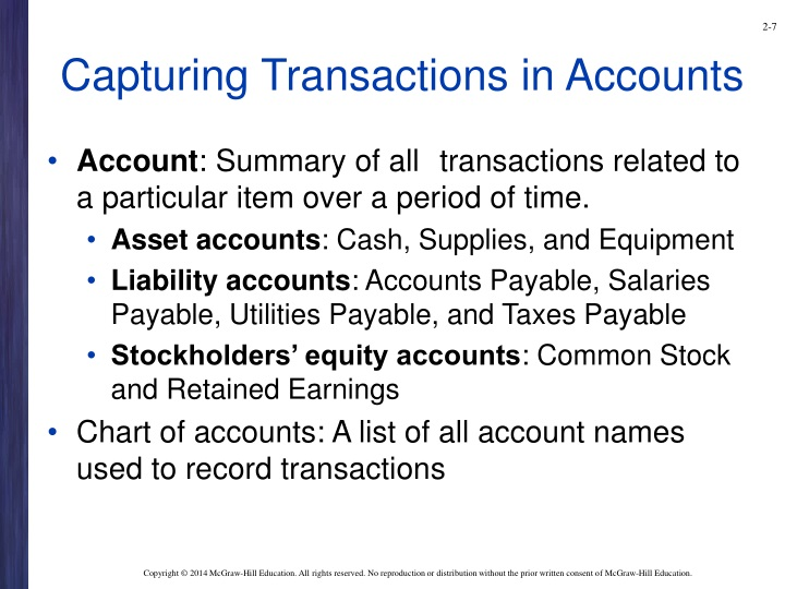 Capturing Transactions in Accounts