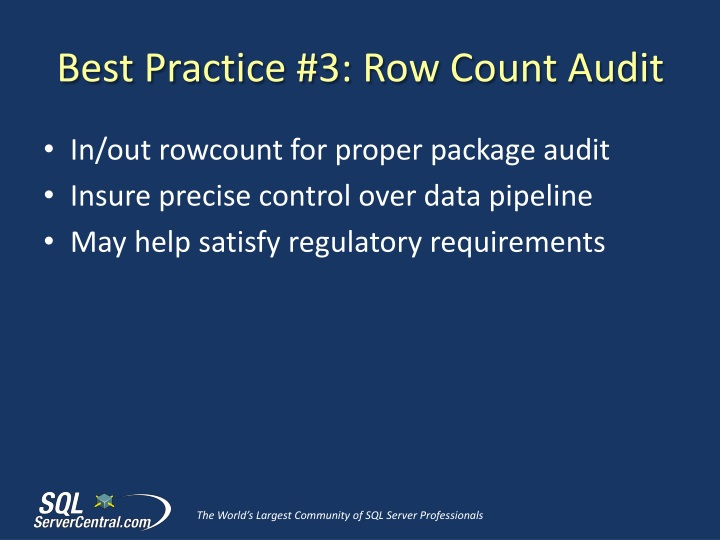 Best Practice #3: Row Count Audit