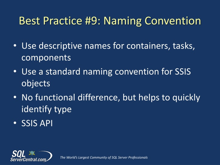 Best Practice #9: Naming Convention
