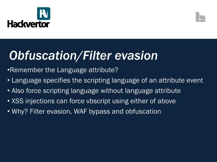 Obfuscation/Filter evasion