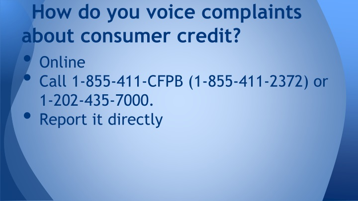How do you voice complaints about consumer credit?