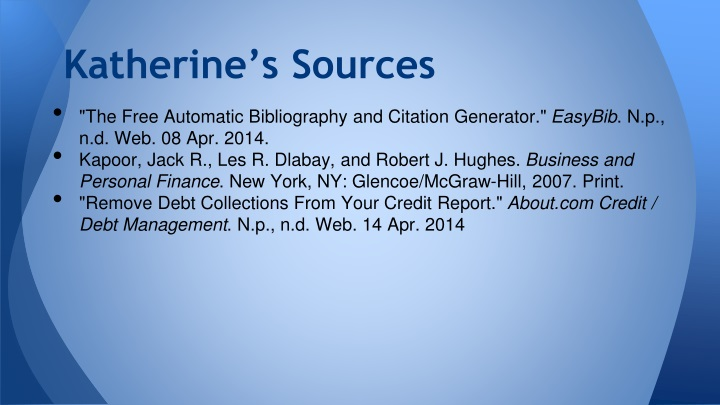 Katherine's Sources