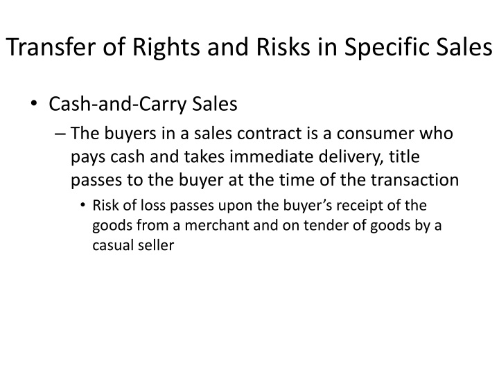 Transfer of Rights and Risks in Specific Sales