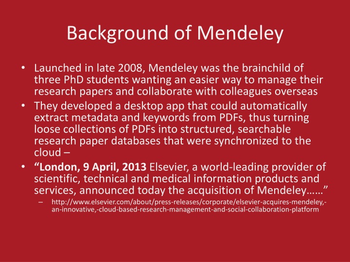 Background of Mendeley
