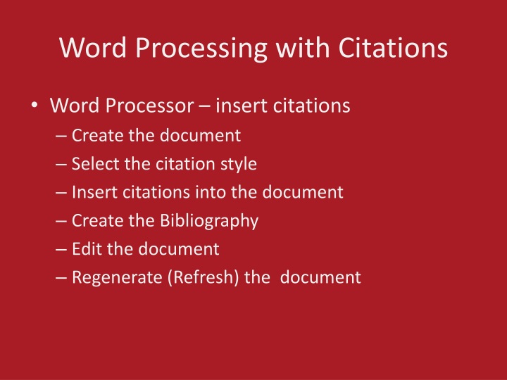 Word Processing with Citations