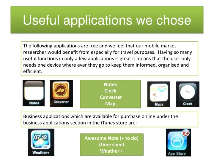 Useful applications we chose