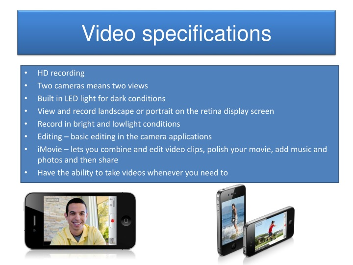 Video specifications