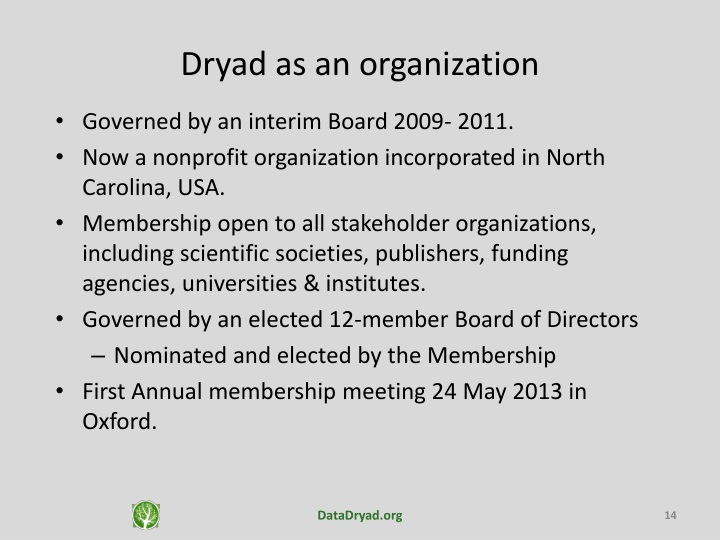 Dryad as an organization