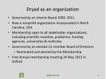 dryad as an organization