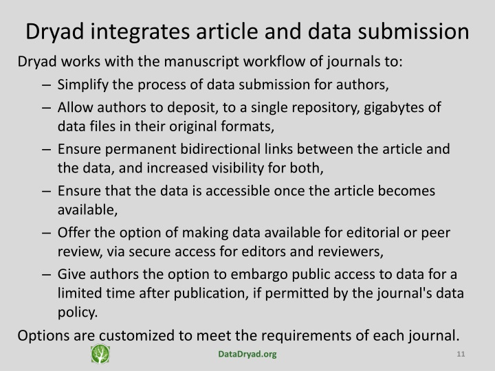 Dryad integrates article and data submission