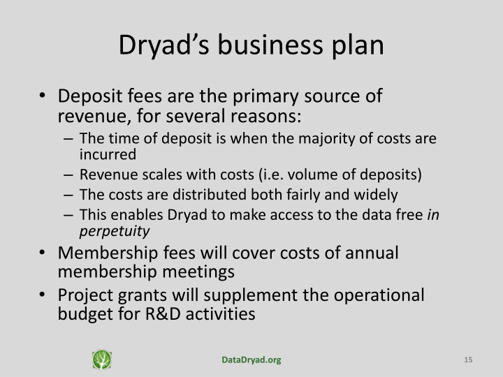 Dryad's business plan