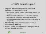 dryad s business plan