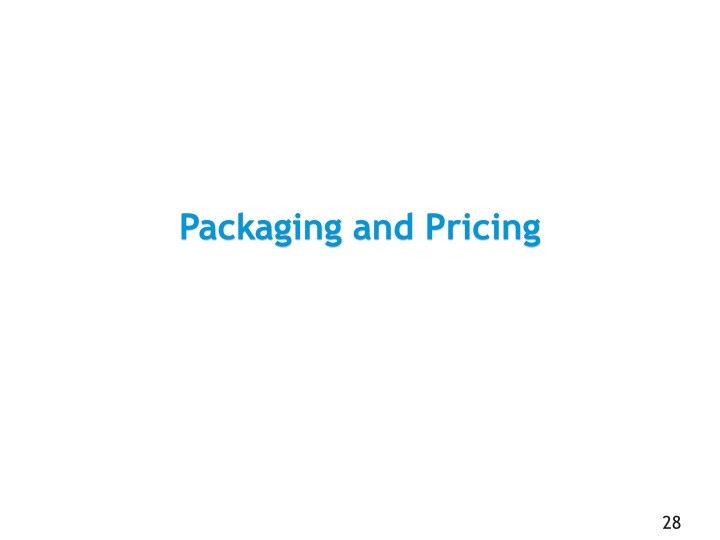 Packaging and Pricing