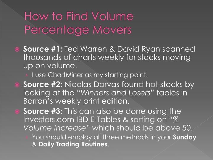 How to Find Volume Percentage Movers