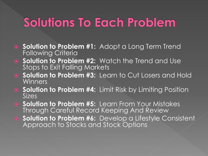 Solutions to each problem