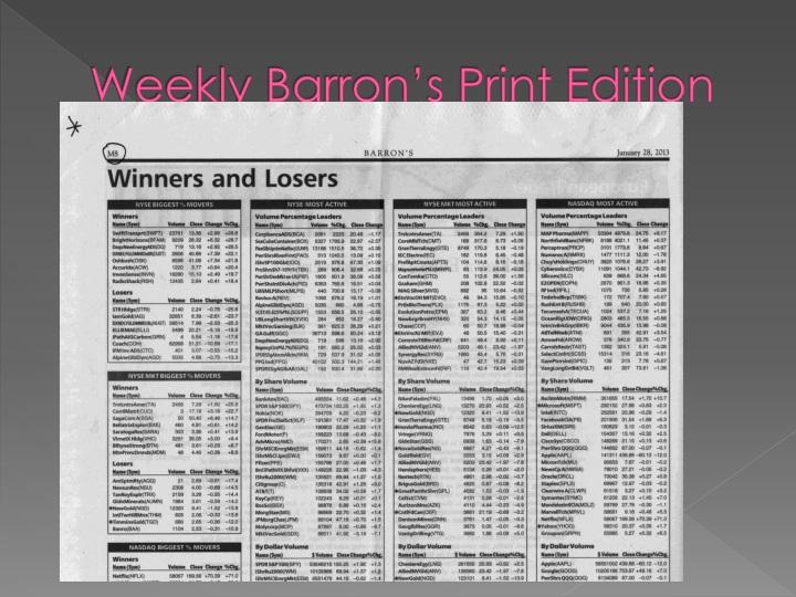 Weekly Barron's Print Edition