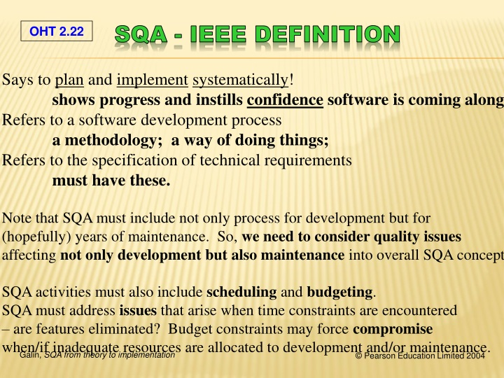 SQA - IEEE definition