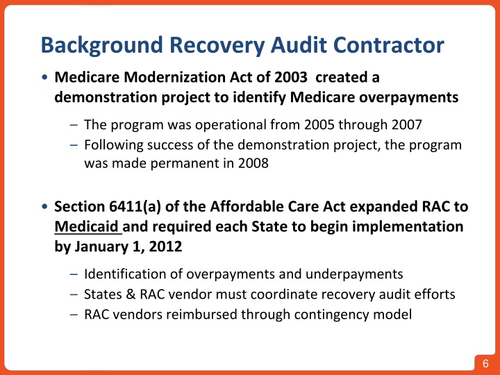 Background Recovery Audit Contractor