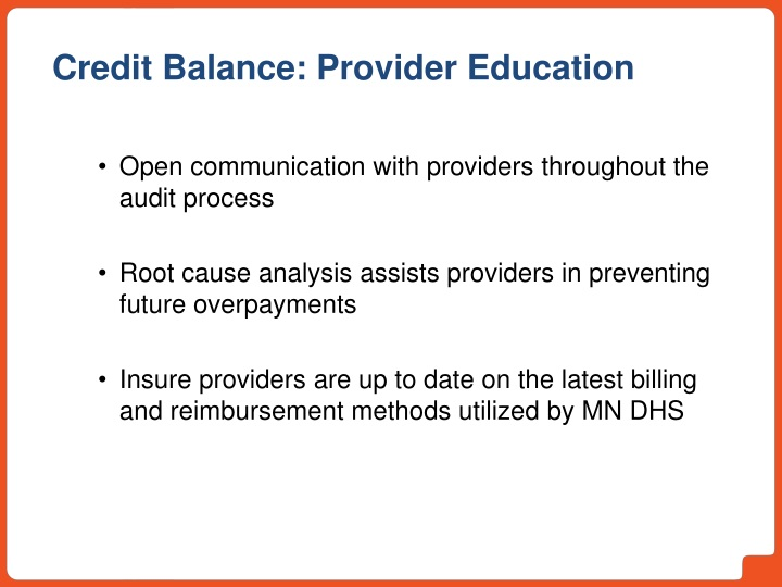 Open communication with providers throughout the audit process