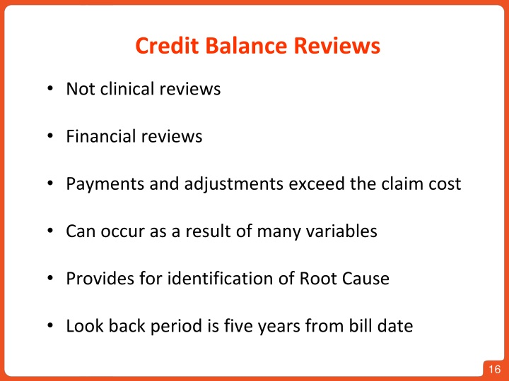 Credit Balance Reviews