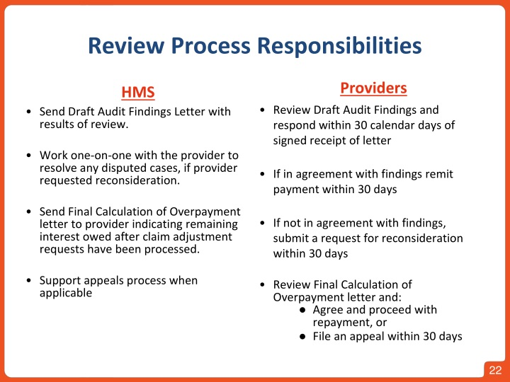 Review Process Responsibilities