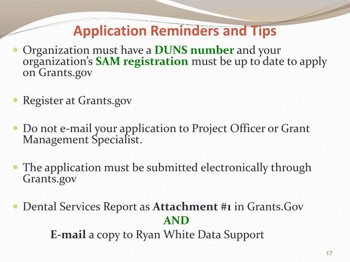Application Reminders and Tips
